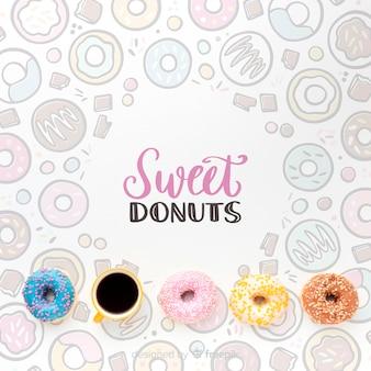 Mix aus bunten donuts und kaffee mit mock-up