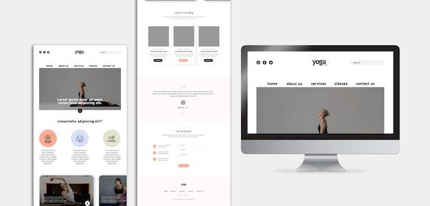 Mobile app und bildschirm der yoga-klasse