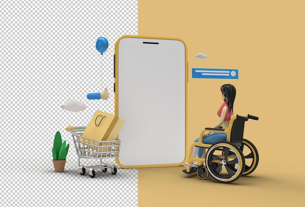 Mobile online-shopping-modell mit frau im rollstuhl-web-banner transparente psd-datei.