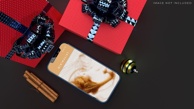 Mobile smartphone mockup für das globale geschäft mit markenidentität