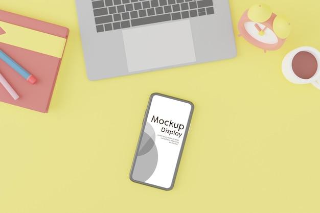 Mobiltelefon mit bildschirmplatzierungsmodell in der 3d-renderingillustration