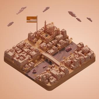 Mock-up 3d-städte wahrzeichen miniaturmodell