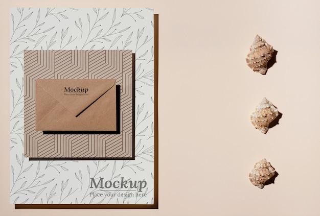Mock-up-anordnung für naturmaterialkarten