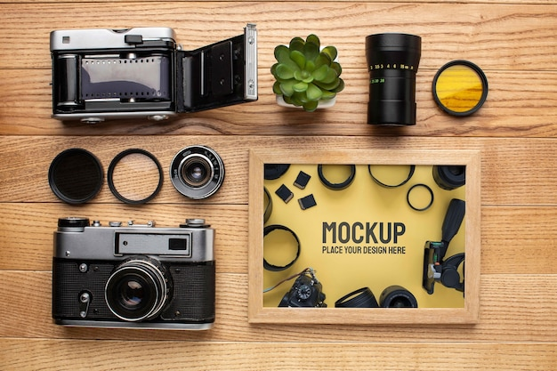 Mock-up-arrangement für fotografen-workshops