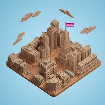 Mock-up city 3d gebäude