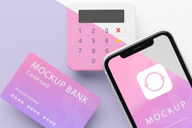 Mock-up e-payment mit smartphone und bezahlterminal