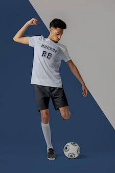 Mock-up für männliche fußballspieler