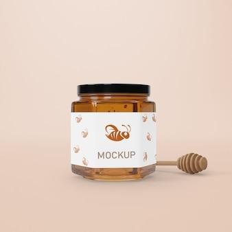 Mock-up glas mit honig
