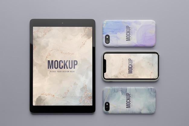 Mock-up handyhüllen und tablet-sortiment