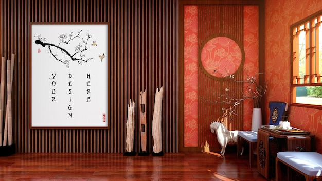 Mock up leinwand bilderrahmen im traditionellen chinesischen wohnzimmer