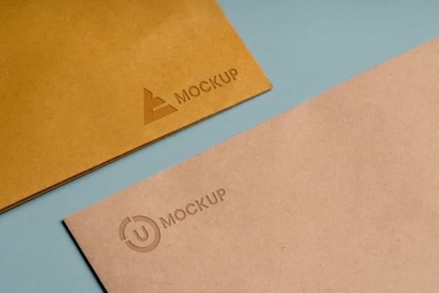 Mock-up logo design für business high view