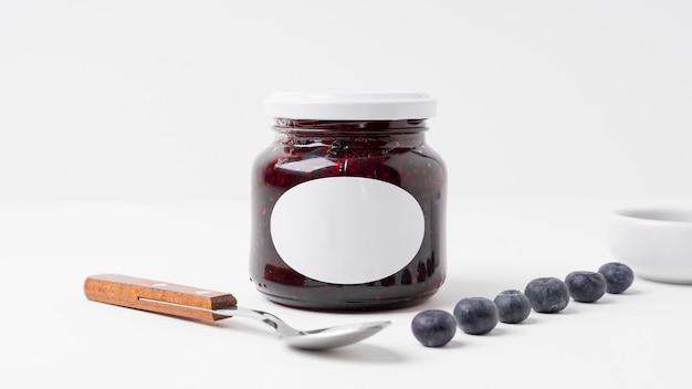 Mock-up marmeladenglas verpackungsanordnung