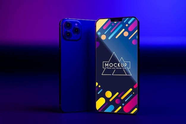 Mock-up neue telefone setzen schaufenster