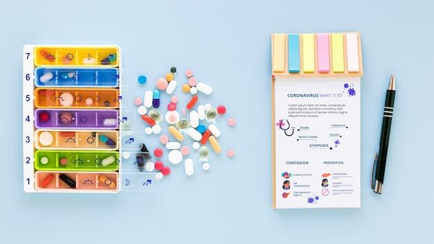 Mock-up pillen auf dem tisch