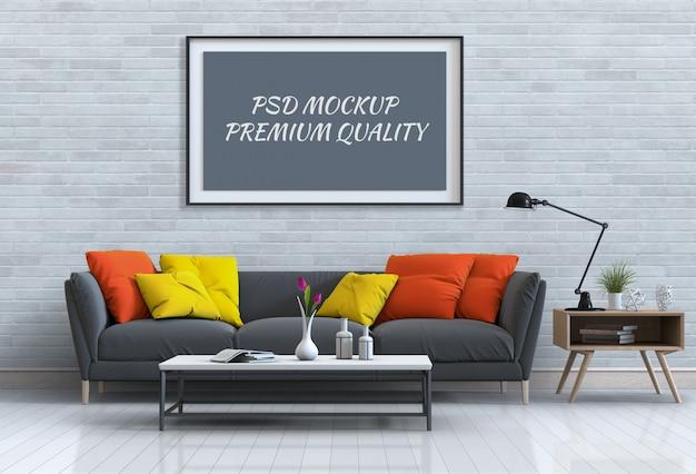 Mock up plakatrahmen im inneren wohnzimmer und sofa