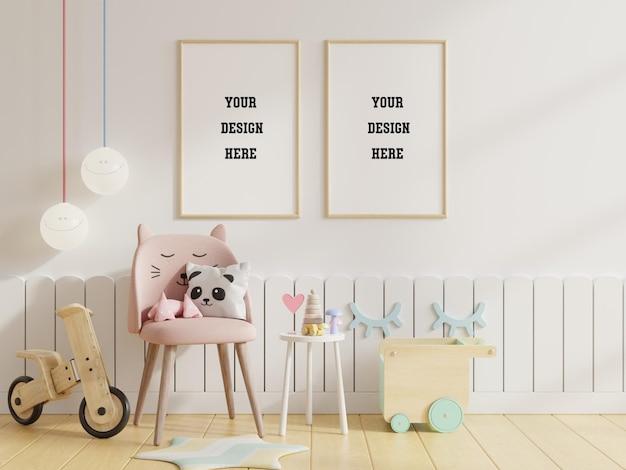 Mock up plakatrahmen im kinderzimmer