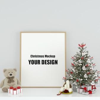 Mock up poster frame in der skandinavischen weihnachts- und winterdekoration