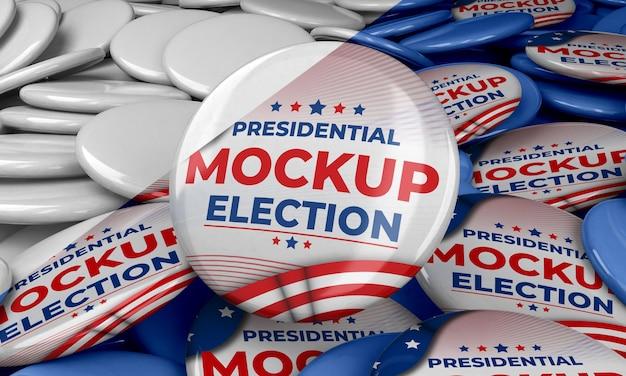 Mock-up-präsidentschaftswahlabzeichen für die vereinigten staaten