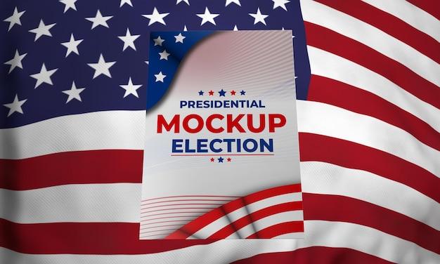 Mock-up präsidentschaftswahlplakat für vereinigte staaten mit flagge