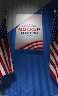Mock-up präsidentschaftswahlplakat für vereinigte staaten mit flaggen