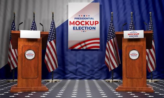 Mock-up-präsidentschaftswahlpodeste für die vereinigten staaten
