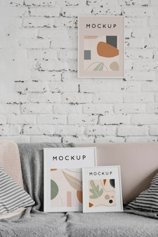 Mock-up-rahmen auf der couch