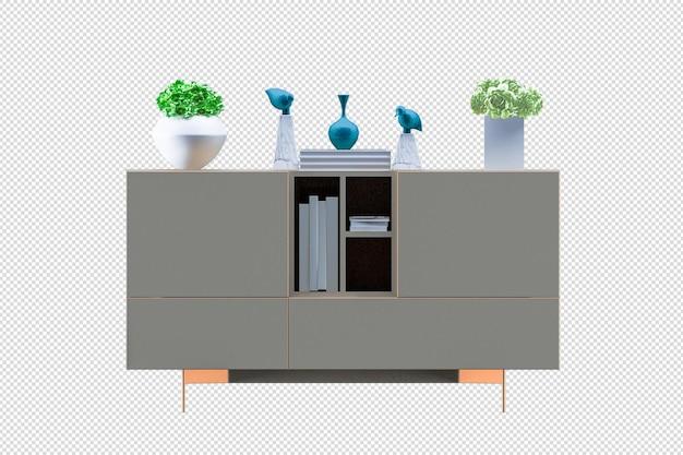 Mock-up-schrank im modernen wohnzimmer mit ledersessel und pflanzenlampe auf weißem wandhintergrund