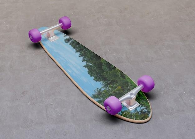 Mock-up skateboard verkehrt herum