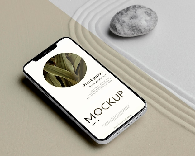 Mock-up-smartphone in sand-anordnung