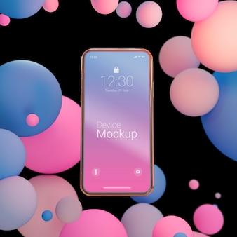 Mock-up-smartphone mit flüssigen elementen
