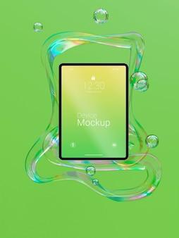 Mock-up-tablette mit abstrakten flüssigkeiten