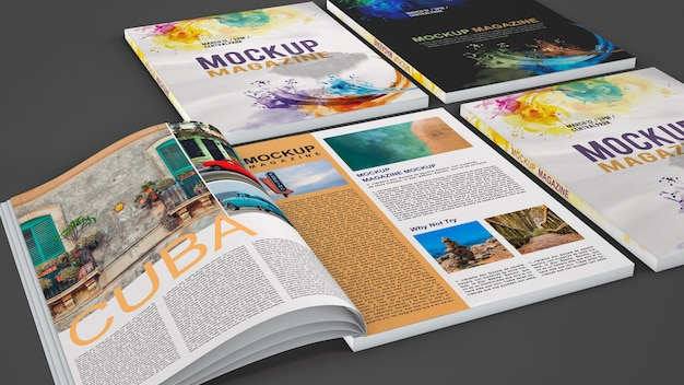Mock-up verschiedener magazine