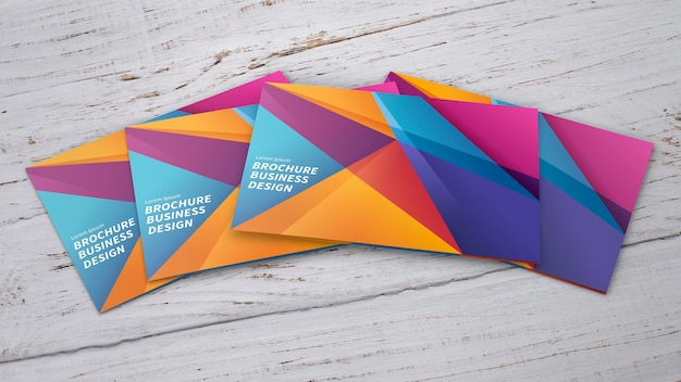 Mock-up von bunten broschüren