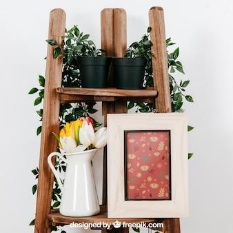 Mock-up von rahmen und pflanzen
