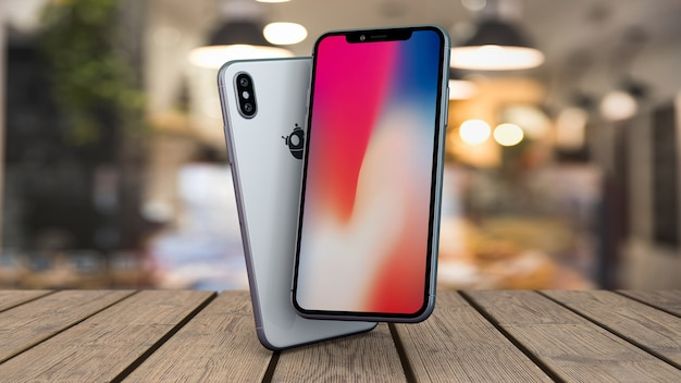 Mock-up von smartphones auf tischplatte