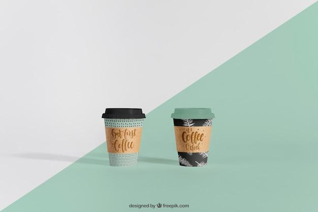 Mock-up von zwei kaffeetassen
