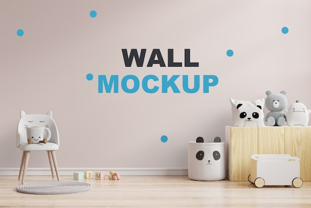 Mock up wand im kinderzimmer in cremefarbener wand .3d rendering Premium PSD