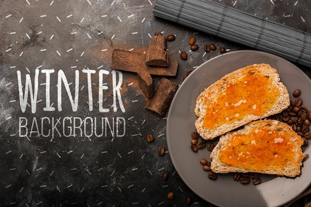 Mock-up winter frühstück eingerichtet