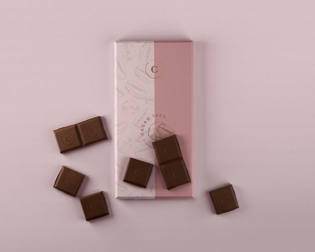 Mock-up zum einwickeln von papierschokolade