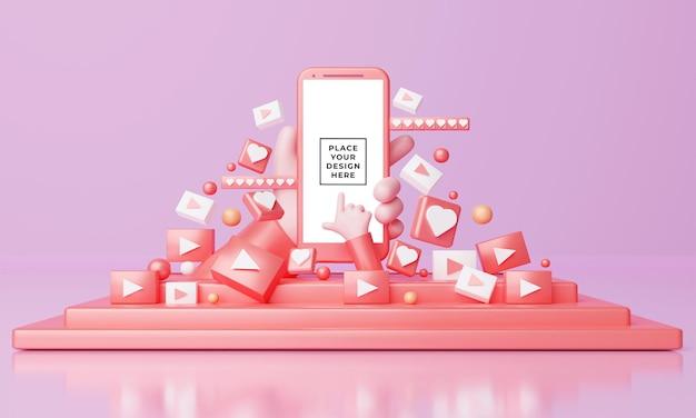Mockup 3d des smartphones mit niedlichen cartoonhänden auf der bühne