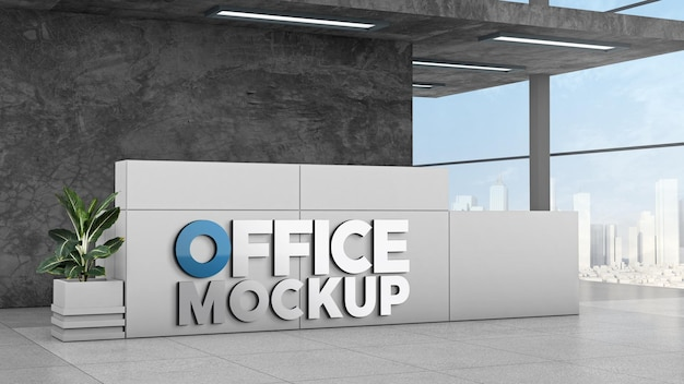 Mockup 3d-logo-empfangstheke modernes gebäude