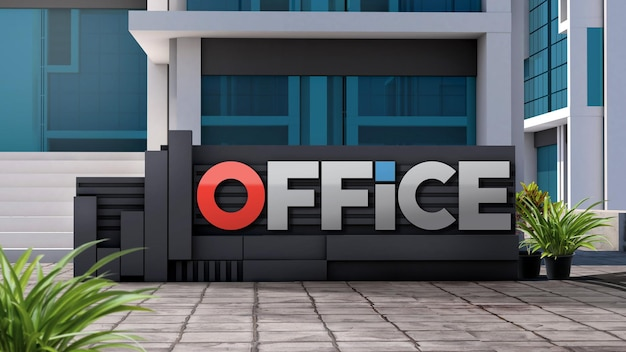 Mockup 3d-logo-fassadenschild, das vor einem modernen gebäude steht