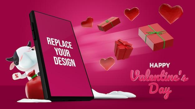 Mockup 3d-rendering-design zum valentinstag