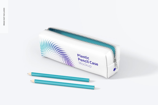 Mockup aus kunststoff-federmäppchen