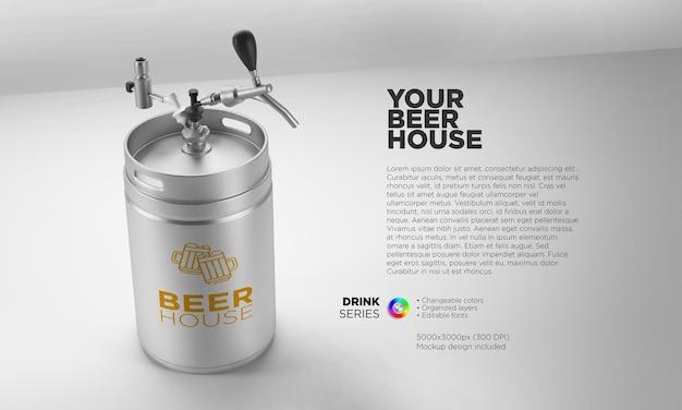 Mockup-bierfass für ihren markennamen und ihr logo