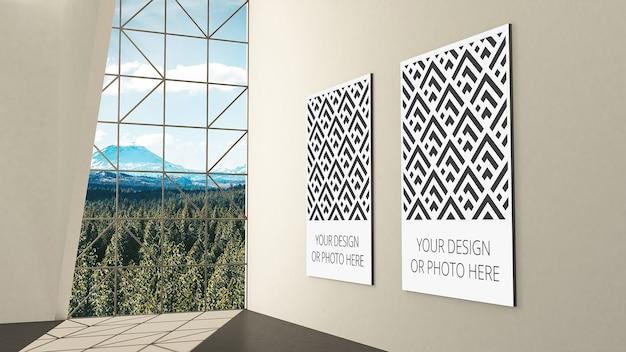 Mockup der ausstellungsgalerie mit platzhaltern für vertikale bilder