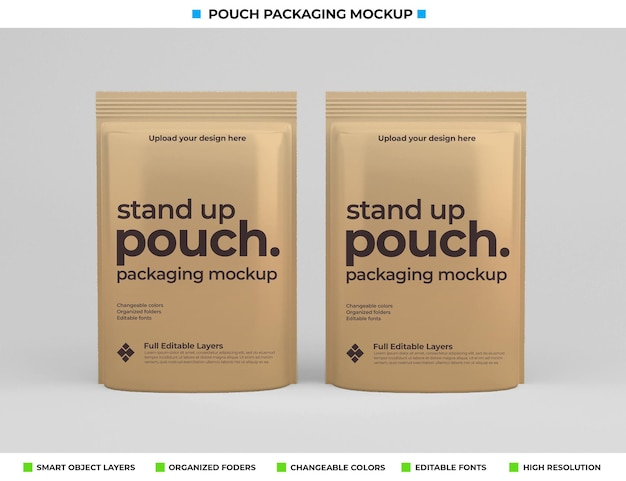 Mockup-design des beutelpakets im lebensmittelkonzept