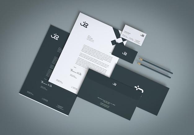 Mockup-design für firmenbriefpapiersets