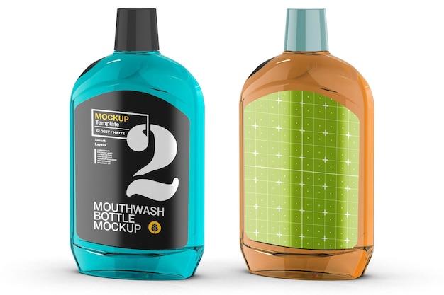 Mockup-design für kunststoff-mundwasserflaschen in 3d-rendering