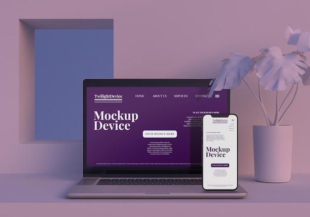 Mockup-design für twilight-geräte